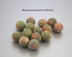 Бусина Унакит гладкий матовый шар 12-13 мм