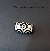 Бусина Агат дзи 6 глаз черно-бежевый гладкий бочонок 19х10+- мм