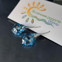 Серьги Swarovski Капля голубая 3,9 см