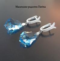 Серьги Swarovski Капля голубой 4,2 см