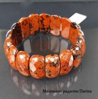 Браслет Обсидиан коричневый 25 мм 19,5 см