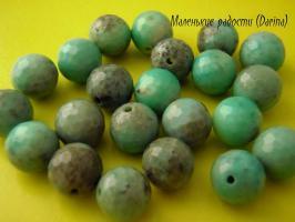 Амазонит, граненый шар, 10 мм