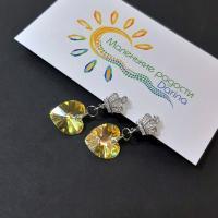 Серьги Swarovski Сердце золотистое 3,3 см