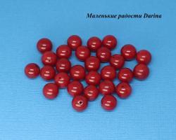 Бусина Коралл бордовый гладкий шар 12+- мм