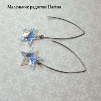 Серьги Swarovski Звезда золотистая 6.2 см