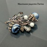 Брошь Букет Голубых цветов