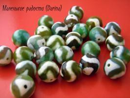 Бусина Агат дзи Волна зеленый граненый шар 12 мм