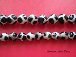 Бусина Агат дзи жираф граненый шар 10 мм