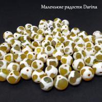 Бусина Агат дзи жираф желтый граненый шар 10 мм