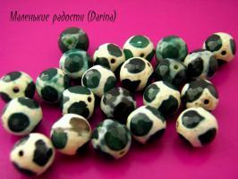 Бусина Агат дзи жираф зеленый граненый шар 10 мм