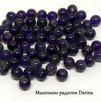 Бусина Аметист темный индиго гладкий шар 6,4+- мм