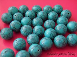 Бусина Бирюза зеленые джунгли Крайола гладкий шар 10 мм