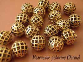 Бусина золотистый Глобус шар 14 мм