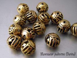 Бусина золотистый Скорпион шар 10 мм