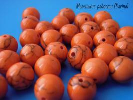 Бусина Кахолонг оранжевый гладкий шар 10 мм