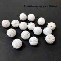 Бусина Коралл белый резной шар 16 мм
