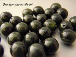 Бусина Нефрит гладкий шар 6,5 мм темный