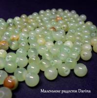 Бусина Оникс мраморный зеленый (кальцит) гладкий шар 6 мм