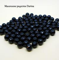 Бусина Оникс черный (халцедон) граненый шар 10 мм