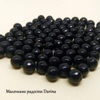 Бусина Оникс черный (халцедон) граненый шар 8 мм