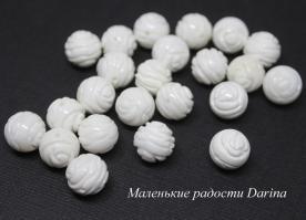 Бусина Перламутр белый резной шар роза 12+- мм