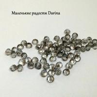 Бусина Стекло дымчатый граненый рондель 5,9х4,5 мм