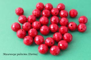 Бусина, стекло, красный, граненный шар, 12 мм