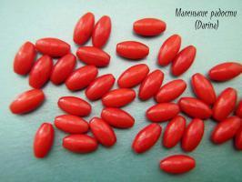 Бусина Коралл бордовый гладкий бочонок 10х5+- мм