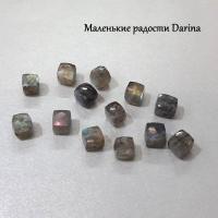 Бусина Лабрадор граненый куб 7-6+- мм