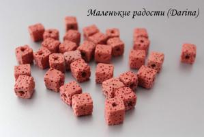 Лава, коричневый, кубик, 8-9+- мм