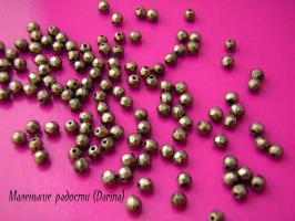 Бусина Пирит граненый шар 2 мм