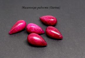 Бусина Корунд рубиновый гладкий бриолет 24-14 мм